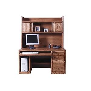 "Forest Designs Bullnose Desk & Hutch, 56"" W, Golden Oak"