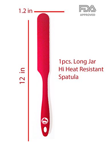 Silicon Spreader - Jar Silicone Spatula 1-piece 450oF Baking Long Jar & Spatulas - Ergonomic Easy-to-Clean Seamless One-Piece Design - Nonstick - Dishwasher Safe - Steel core reinforced