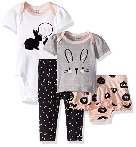 Bunny Infant Bodysuit - Gerber Baby Girls 4-Piece Shirt, Bodysuit, Pant and Skirted Ruffle Panty, Bunny Hearts, 3-6 Months