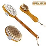Dry Brushing Body Brush Set for Dry Skin Brushing & Exfoliating with Natural Bristles - Long Wooden Handle Body Shower Brush - Boar Bristle Body Brush-Facial Exfoliation Brush-Cellulite Massager Brush review