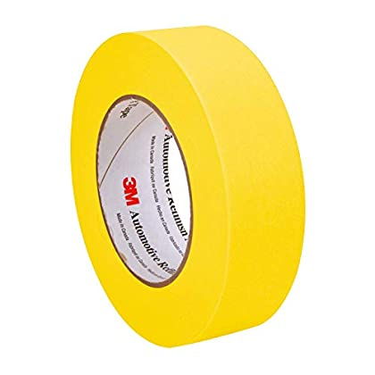 Image of 3M 06654 Refinish Masking Tape, 36 mm x 55 m, Yellow, 24 Pack (Pack of 24) Masking Tape