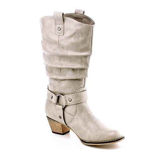 Women's Mid Calf Cowboy Boots Distressed Slouchy O-Ring Studded Pull on Block Heel Riding Boots Bone (Western Wedding Boots)