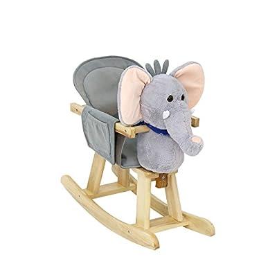 Kinbor Baby Kids Toy Plush Wooden Rocking Horse Elephant Theme Style Riding Rocker with Sound, Grey