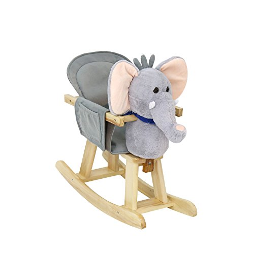Kinbor Baby Kids Toy Plush Wooden Rocking Horse Elephant Theme Style Riding Rocker with Sound, Grey (With Plush Rocking Sound Horse)