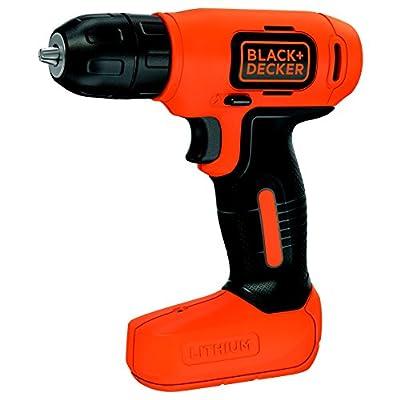 Black and Decker BDCD8-QW - Taladro atornillador sin cable, batería 1.5 Ah, 7.2 V, color negro y naranja