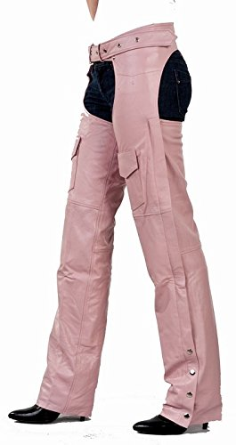Ladies Pink Chaps - Womens Insulated Pink Leather Motorcycle Chaps XS