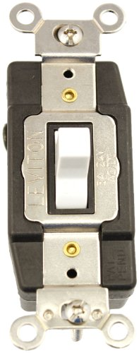 (Leviton 1081-W 3 Amp, 24 Volt AC/DC, Toggle Double Throw, Center Off, Momentary Contact, Single Pole, AC Quiet Switch, Industrial Grade, Grounding, White)