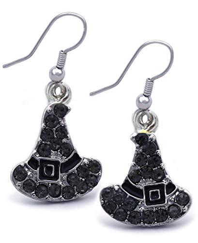 cocojewelry Witch Wizard Hat Earrings Halloween Costume Jewelry (Black Dangle)