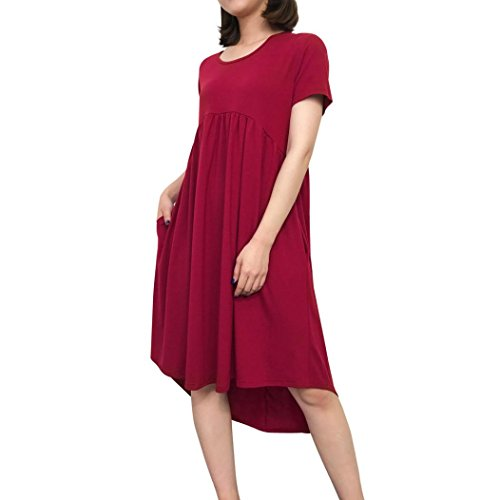 Dress Pure Round Short Irregular Tian Pockets with Pleated Dress G s Sleeve Wine Women Ladies Color Loose Casual Neckline Neck Round qwtUWtaX