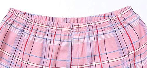Hipster cuello Pantalones Largo Otoño Pijamas Juegos 2 Un De Primavera Moda V Pijama Manga Solo Ropa Pink El Con Pecho Conjunto Mujer Bolsillos Albornoz Camisones Tops Para Cuadros Hogar w7nUxYaq