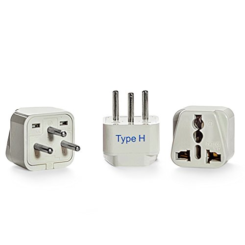 Ceptics Israel Travel Plug Adapter (Type H) - 3 Pack [Grounded & Universal]...