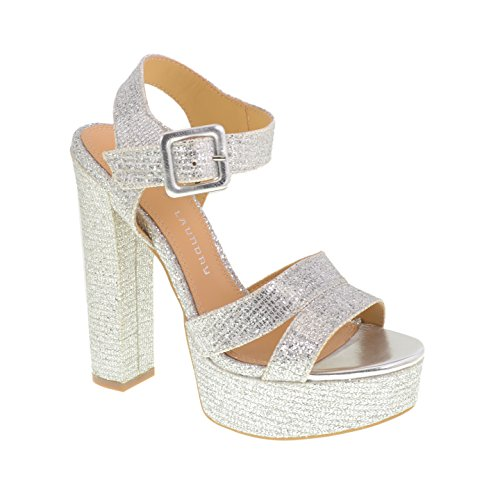 Chinese Laundry Women's Allspice Glitter Platform Sandal, Silver, 7.5 M US (Silver Sandals Chinese Laundry)