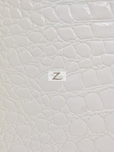 VINYL FAUX FAKE LEATHER PLEATHER EMBOSSED SHINY ALLIGATOR FABRIC - White - 54 WIDTH SOLD BY THE YARD by Big Z Fabric   B00LBBLD3K