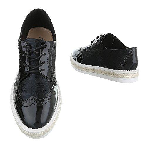 Ital-Design - Zapatos Planos con Cordones Mujer Schwarz FC-E37