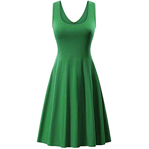 Dress for Women Sleeveless V Neck Solid Backless Pleated Swing Flowy Cocktail Dresses (S, Green) 65 Womens Heels Shoes