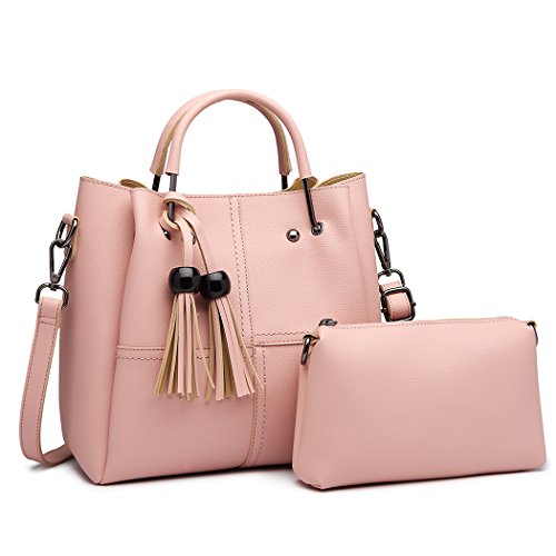 Miss Lulu Brand Top Handle Bag with Small Pouch Set Pu Leather Zip Closure Shoulder Bag Design Fashion Handbag Sets Cross Body Bag for Women Pink