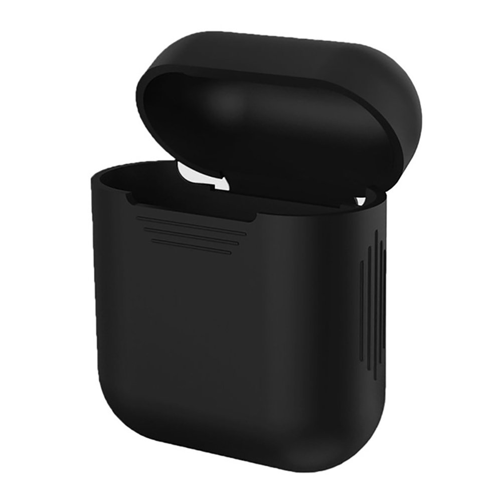 iMusk Airpods Silicone Carrying Case Protective Cover Skin Sleeve Pouch Box for Apple Airpods Air Ear Pods Buds Wireless Earphone Headphone Accessories(Black)