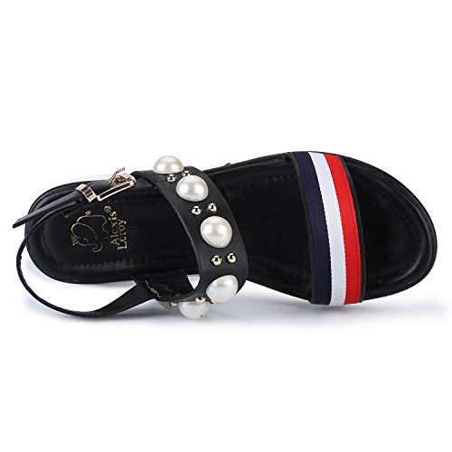 Buckle Open Pearls Alexis Sandals Platform Black Strap Toe Womens Leroy Agq7t