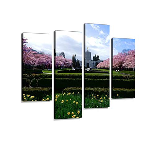 Salem Oregon Canvas Wall Art Hanging Paintings Modern Artwork Abstract Picture Prints Home Decoration Gift Unique Designed Framed 4 Panel