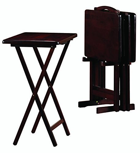 PJ Wood 5-piece Set TV Tray Table in Espresso Finish Wood Tray Tables