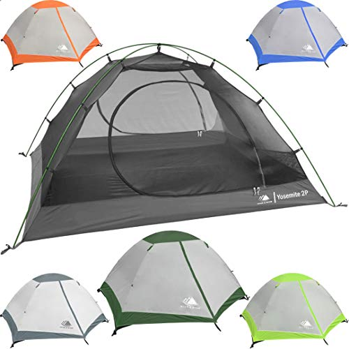 (2 Person Backpacking Tent with Footprint - Lightweight Yosemite Two Man 3 Season Ultralight, Waterproof, Ultra Compact 2p Freestanding Backpack Tents for Camping and Hiking, Hyke & Byke (Forest Green) )