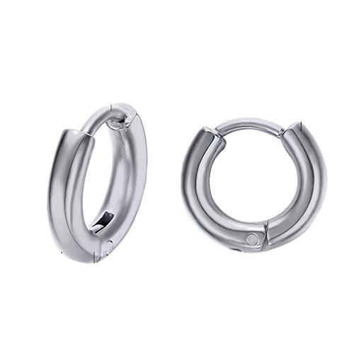 YAZILIND oreja espárragos titanio acero occidental moda Exquisito ronda aretes de aro de la personalidad (plata)