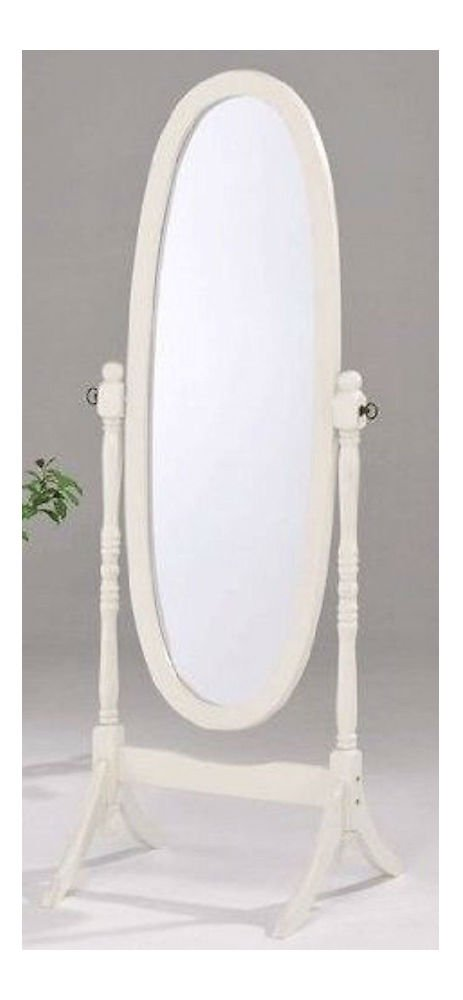 Swivel Full Length Wood Cheval Floor Mirror, White/Oak/Cherry Finish New (White)