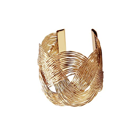 - VANVENE Wire Metal Coil Thin Cuff Gold Bangle Bracelets for Women Fashion (Nepal)