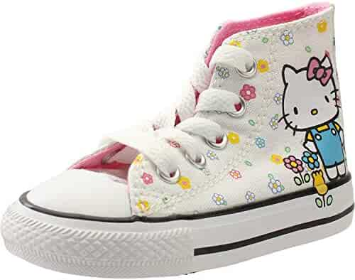 f2fb0e5465f Converse Chuck Taylor All Star Hello Kitty Hi White Pink Textile Baby  Trainers Shoes