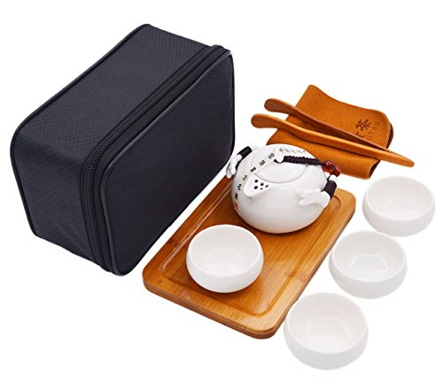 Vegali Double Dragons Handmade Porcelain Chinese Classic Gongfu Kungfu Portable Travel TeaSets;Porcelain Teapot & Teacups & Bamboo Tea Tray with a Portable Travel Bag (White)