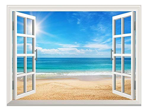 Removable Wall Sticker Wall Mural Beautiful Summer Seascape and The Beach Creative Window View Wall Decor