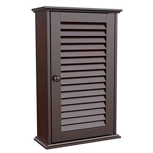 go2buy Wood Bathroom Wall Mount Cabinet Toilet Medicine Storage Organizer Single Door with Adjustable Shelves, Espresso