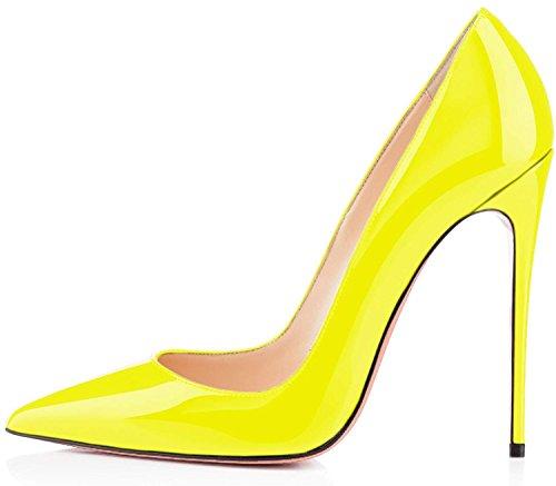A 12cm A High Da giallo Donna Tacco Heels Col Scarpe Spillo Classico Edefs nPqZH8WP
