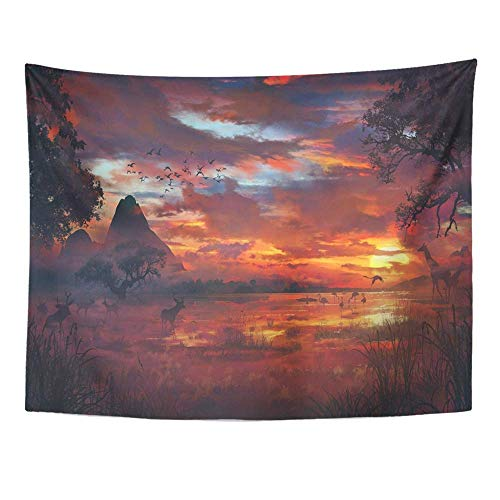 Remain Unique Tapestry Colorful Safari Savanna Orange Jungle Africa African Animal Antelope Backlit Wall Hang Decor Indoor House Made in Soft ()