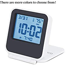Egundo Small Digital Travel Alarm Clocks,Battery Operated Travel Clock with Alarms Lights,Portable Folding Mini Pocket Temperature Clock for Outdoor Kids Beside Bed Desk Table Cars CruiseCamper