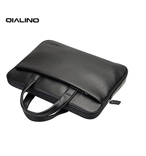 QIALINO Genuine Leather 13 inch MacBook Pro Laptop Briefcase Shoulder Bag, Ultrabook Carrying Case Handbag for 13.3