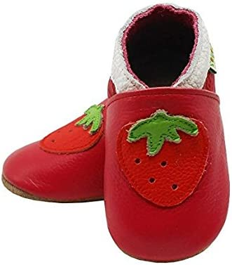 SAYOYO Baby Cute Strawberry Soft Soled Leather Baby Shoes Baby Moccasins