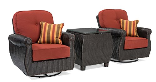 Three Piece Resin - La-Z-Boy Outdoor Breckenridge 3 Piece Resin Wicker Patio Furniture Set (Brick Red): 2 Swivel Rockers and Side Table with All Weather Sunbrella Cushions