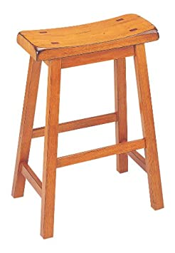 ACME 07305 Set of 2 Gaucho Stool, Oak Finish, 24 H