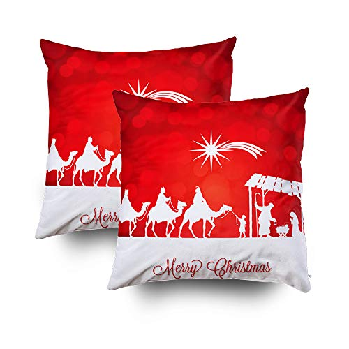 ROOLAYS Christmas Decorative Throw Square Pillow Case Cover 20X20Inch, Cotton Cushion Covers High Detail Nativity Christmas Both Sides Printing Invisible Zipper Home Sofa Decor Sets 2 PCS Pillowcase