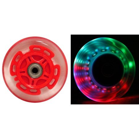 SCSK8 Light Up Scooter Replacement Wheels - 3 Multi Color LED's 100mm (Pack of 2) by SCSK8