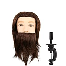 Male Mannequin Head 100% Human Hair Hairdresser Training Head Manikin Cosmetology Doll Head with Beard, Table Clamp Stand Included