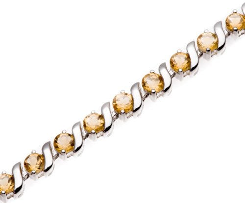 "Price comparison product image LIQUIDATION Round 4mm Genuine Citrine Sterling Silver ""S"" Link Bracelet 7.5"""