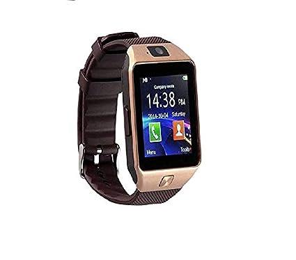 b5e107bbd93 Konarrk Gear Z DZ09 Bluetooth Smart Watch - Sim   Memory Slot - Camera -  Android Ios-Gold Brown  Amazon.in  Computers   Accessories