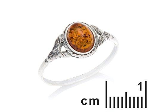 La Maison de l'Ambre - Bague motif Femme - Argent 925 Ambre Demi Lune Taille 56 - KMOP1-56 La Maison de l' Ambre