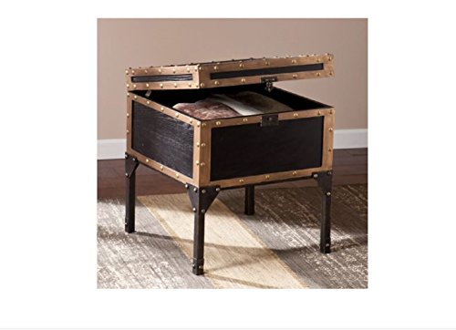 Travel Trunk End Table Storage Side Accent Industrial Antique Bronze by CiciLeesa (Image #1)