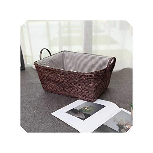Straw Weaving Storage Basket Fruit Rattan Storage Box for Jewelry Cosmetic Book Cloth Organizer Desk Storage Basket mx01171700,Dark Coffee (Baskets Cheap Rattan Singapore)