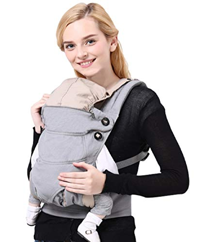(Soft Baby Carriers Front and Back with Hood & Adjustable Hip Seat - All Seasons Cotton Baby Carrier Wrap Sling Backpack Infants Nursing for Newborn to Toddler Up to 44 lbs/20kg)