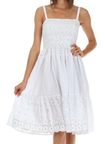 Sakkas 6502 Sequin Embroidered Smocked Bodice Knee Length Dress - White - One Size (Summer Cotton White Dress)
