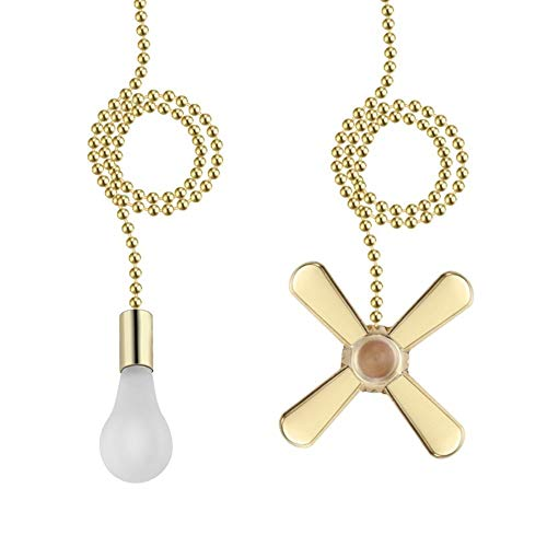 Ceiling Fan Pull Chain 3mm Diameter Beaded Ball Fan Pull Chain, 13.6 Inches Fan Pulls Set with Connector(Brass )